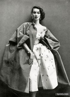Christian Dior 1951 Dinner Dress and coat, Photo Richard Avedon