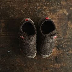 Mocca brown coloured boiled wool slippers with reinforced leather heels and toes and flexible rubber soles for big kids, perfect for hard floors and lots of pla
