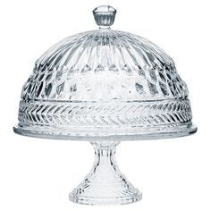 Etched-crystal glass cake stand with dome.  Product: Cake stand and domeConstruction Material: Crystal glass
