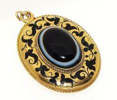 Victorian C.1850 English 15K Gold Banded Agate Enamel Locket Mourning Pendant