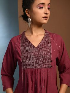 Buy SHIULI - Red Handloom Cotton Kurta with Kantha Embroidery Online at Jaypore.com Embroidery On Kurtis, Embroidery Online, Kurti Embroidery Design, Simple Kurta Designs, Kurta Designs Women, Salwar Kameez Neck Designs, Kurta Cotton, Embroidered Kurti, Neck Designs For Suits