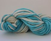 Turquoise/ Ivory Multi Color Hand Spun, Hand Dyed Thick and Thin Super Chunky Wool Yarn