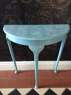 Shabby Chic Half Moon Table In Blue Hall Decor By Wilfsworkshop