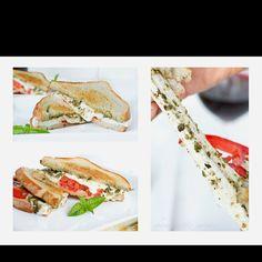 Fresh tomato mozzarella basil sandwich