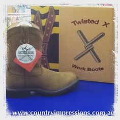TWISTED X work boots! Oil resistant and slip resistant.  Your favourite western style boot is now a work boot. #twistedxboots #warrnambool #3280 #shop3280 #countryimpression #liebigstreet #greatoceanroad #workboots #westernboots by countryimpressions