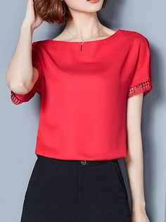 Casual Round Neck Hollow Out Plain Chiffon Blouse Summer Blouses, Red Blouses, Summer Tops, Blouses For Women, Red Chiffon, Chiffon Tops, Blouse Styles, Blouse Designs, Blouse Online