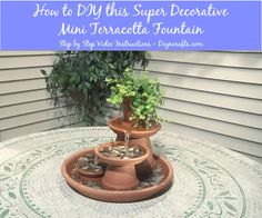 How to DIY this Super Decorative Mini Terracotta Fountain – DIY Crafts Making your own is a lot simpler than you think. You can build you own terra cotta fountain that will fit on an outdoor tabletop and complete in just a couple of hours. Video instructions VisitSite: http://www.diyncrafts.com/4669/home/diy-super-decorative-mini-terracotta-fountain