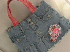 Upcycled Jean Skirt Repurposed Jean Skirt Medium by BAGSbyMartha, $45.00