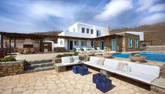 Ideen für Terrassengestaltung im Mittelmeer-Stil-Stein-Boden und Hausfassade