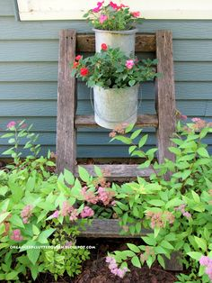the secret to great junk garden vignettes, flowers, gardening, repurposing upcycling, A tree house ladder