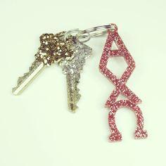 Alpha Chi Omega glitter keychain $8.00