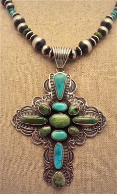 Albert Jake Pilot Mountain Turquoise Cross Pendant and Chain