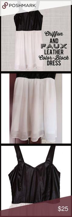 Chiffon n' Faux Leather Color-Block Dress Color-Block dress, with faux leather top to waist and white chiffon bottom. A figure flattering shape and a little bit of rock n' roll and a little bit of girlie chiffon. Boutique Dresses