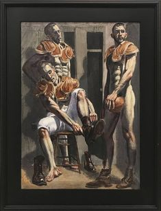 Mark Beard Figurative Painting - [Bruce Sargeant Three Football Players N. Museum Of Fine Arts, Museum Of Modern Art, Clown Paintings, Art Paintings, Beard Art, Modern Art Movements, Queer Art, Art Of Man, Rainbow Art