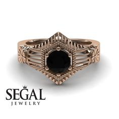 Yellow Gold Engagement Ring by Segal Jewelry Lotus Engagement Ring, Unique Diamond Engagement Rings, Classic Engagement Rings, Beautiful Engagement Rings, Designer Engagement Rings, Diamond Rings, Diamond Jewelry, Edwardian Ring, Victorian Ring