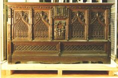 Coffer | V&A Search the Collections Century, Furniture, Wood, Gothic Furniture, Ceramics, Coffer, Metal, Oak, Carving