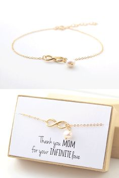 This sweet gold infinity bracelet is the perfect Mother's Day gift! Customize the note inside the gift box to tell mom, grandma, mother of the bride or groom just how much they mean to you.