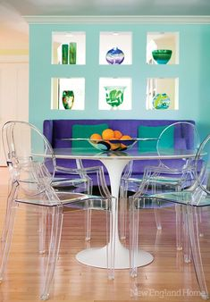 purple and turquoise dining area // tulip table with ghost chairs // fun colorful decor Lucite Chairs, Green Color Schemes, Color Combos, Green Colors, Sweet Home, Ghost Chairs, House Of Turquoise, Bright Rooms, New England Homes
