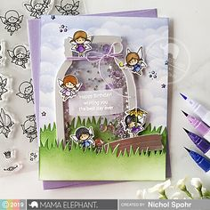 Today I'm featuring the brand new Little Fairy Agenda Stamps and Dies and Jar Shaker Dies. This magical birthday card was such a joy to put together. Mama Elephant Stamps, Spring Projects, Interactive Cards, Elephant Design, Shaker Cards, Diy Scrapbook, Scrapbooking, Copics, Cool Cards