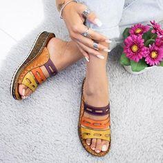 PUIMENTIUA new summer women sandals 3 Color stitching sandals ladies open toe casual shoes Platform wedge slides beach shoes Simple Sandals, Open Toe Sandals, Wedge Sandals, Summer Sandals, Summer Shoes, Strap Sandals, Wedge Shoes, Sandal Wedges, Boho Sandals