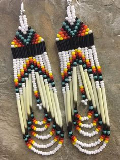 """Native American Style 3.5"""" Beaded Porcupine Quill Earrings    eBay"""