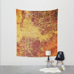 Orange Tapestry Large Brooklin 1898 Map - Orange red and yellow Available in three sizes. Office decor Large Abstract Vintage (68.90 USD) by allmaps