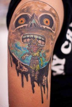 Zelda Majora's Mask moon tattoo for geek
