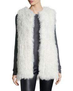 Carrie Mongolian Fur Vest, Women's, Size: XS (0/2), Black - Diane von Furstenberg