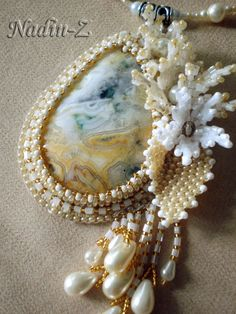 """Pendant """"Summer Morning"""". Used agate, Czech and Japanese seed beads, Czech glass beads"""