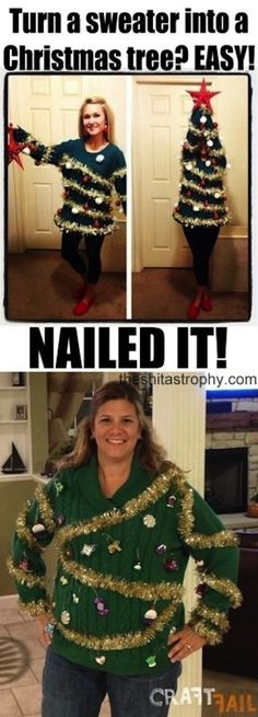 Holy Shit! I am on Buzzfeed!! And as for that sweater? | An Ode To Christmas Pinterest Fails #Shitastrophy #Buzzfeed #CraftFail