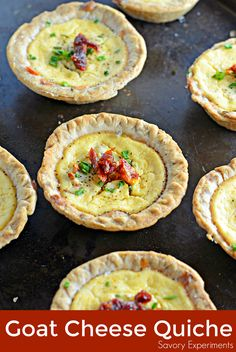Make easy and delicious individual goat cheese quiche! Eggs whipped with goat cheese, sun dried tomatoes, pine nuts and Parmesan cheese, these are perfect for brunch, an appetizer or entree.