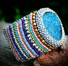 Serena Cuff  Bead Embroidery Druzy Crystal by labellesavage, $229.99