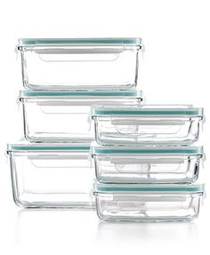 Martha Stewart Collection Food Storage Container Set, 12 Piece Glass: 7.5cup/(2) 4cup/(3) 1.4cup/6lids clear/turquoise 49.99* 10%off