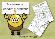 Organizadores gráficos para la descripción de seres fantásticos. Dos modelos: uno con información y otro vacío, para crear personaje...