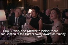 Meredith and Owen surprising Cristina at the Harper Avery Award Ceremony.