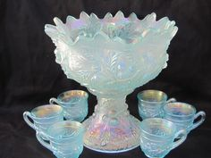 N Acorn Burr 8 pc. Ruffled Punch Set – Ice Blue for auction. (rare and extremely desirable; super example and well matched) Art Vintage, Vintage Dishes, Vintage Pyrex, Vintage China, Vidro Carnival, Cobalt, Tiffany, Punch Bowl Set, Antique Glassware