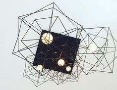 The Cube Skeleton Chandelier Black Ceiling, Metal Chandelier, Steel Structure, Black Fabric, Lighting Design, Skeleton, Cube, Centerpieces, Ceiling Lights