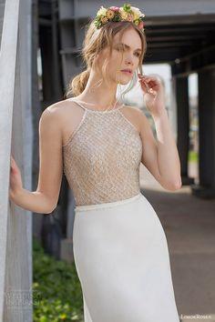 limor rosen bridal 2015 lauren wedding dress beaded net sleeveless halter neck bodice close up