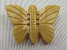 Bakelite Butterfly Button - Thick Cut Bakelite - Deep Carved - Realistic Goofy