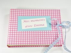 Baby photo album, kids photo album, photo album, photo book,Photo album for baptism, birth gift, the first birthday, pink gingham, france