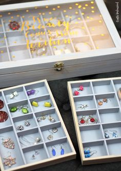 Do you have a tangle of jewelry piled in a drawer somewhere? Get it organized in style with this fun DIY jewelry organizer storage box project!