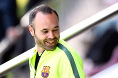 Andres Iniesta looks on during a training session ahead of their UEFA Champions League round of 16 match against Manchester City at Ciutat Esportiva on March 17, 2015 in Barcelona, Catalonia.