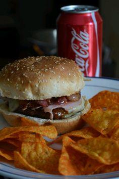 burger, bacon and doritos
