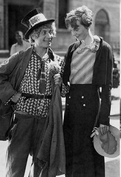 Amelia Earhart and Harpo Marx