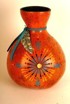 Opal Star with a foil feather. Gourd art by Miriam Joy.