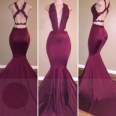 Low Cut Neckline Mermaid Prom Dress with Strappy