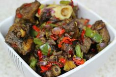 How to make Asun (Spicy Goat Meat) - Nigerian Food Channel, Dishes, Cuisine… Goat Recipes, Indian Food Recipes, African Recipes, Cooking Recipes, Beef Recipes, Healthy Dishes, Healthy Recipes, Healthy Food, Nigeria Food