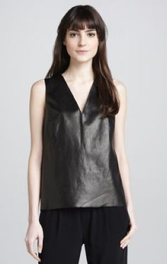 VINCE | Silk Leather V-Neck Top #maloufs www.maloufs.com