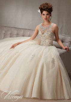 Quinceanera Dress Vizcaya Morilee 89067 Embroidery and beading on a tulle ball gown Colors: white