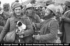 George Orwell (1903 - 1950) and Ernest Hemingway (1899 - 1961), in profile, as a soldiers of International Brigades during Spanish Civil War  Spain, 1937 1 200×800 пикс